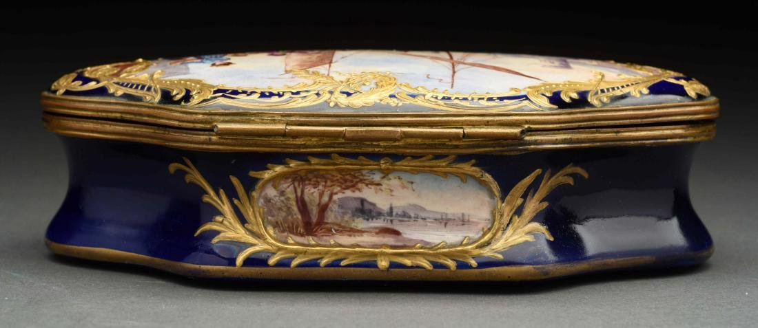 Sevres Soft Paste Lidded Hand Painted Box. - 3