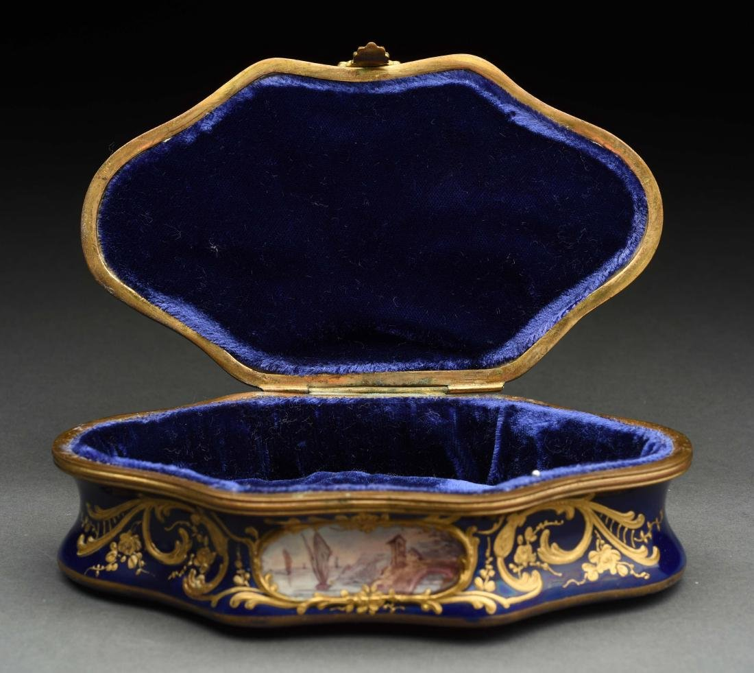 Sevres Soft Paste Lidded Hand Painted Box. - 4