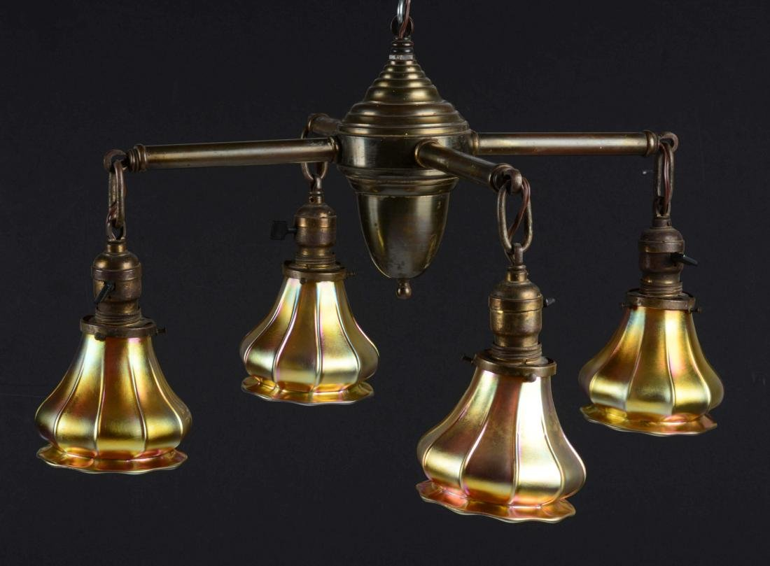 Brass Hanging Chandelier with Four Steuben Art Glass