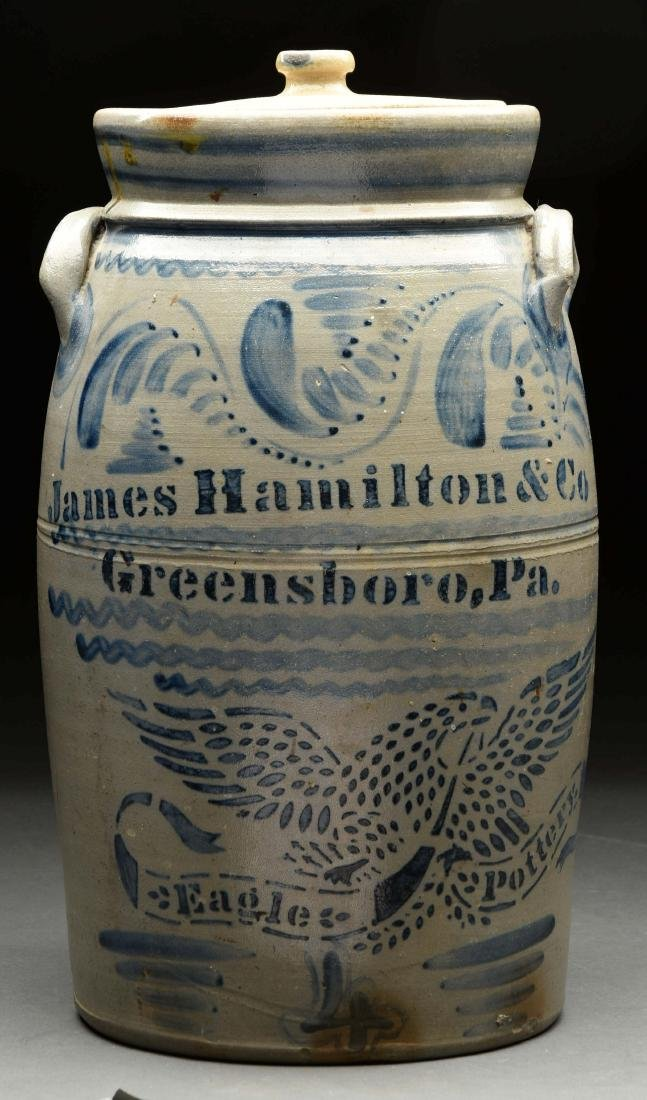 James Hamilton Four Gallon Stoneware Crock.