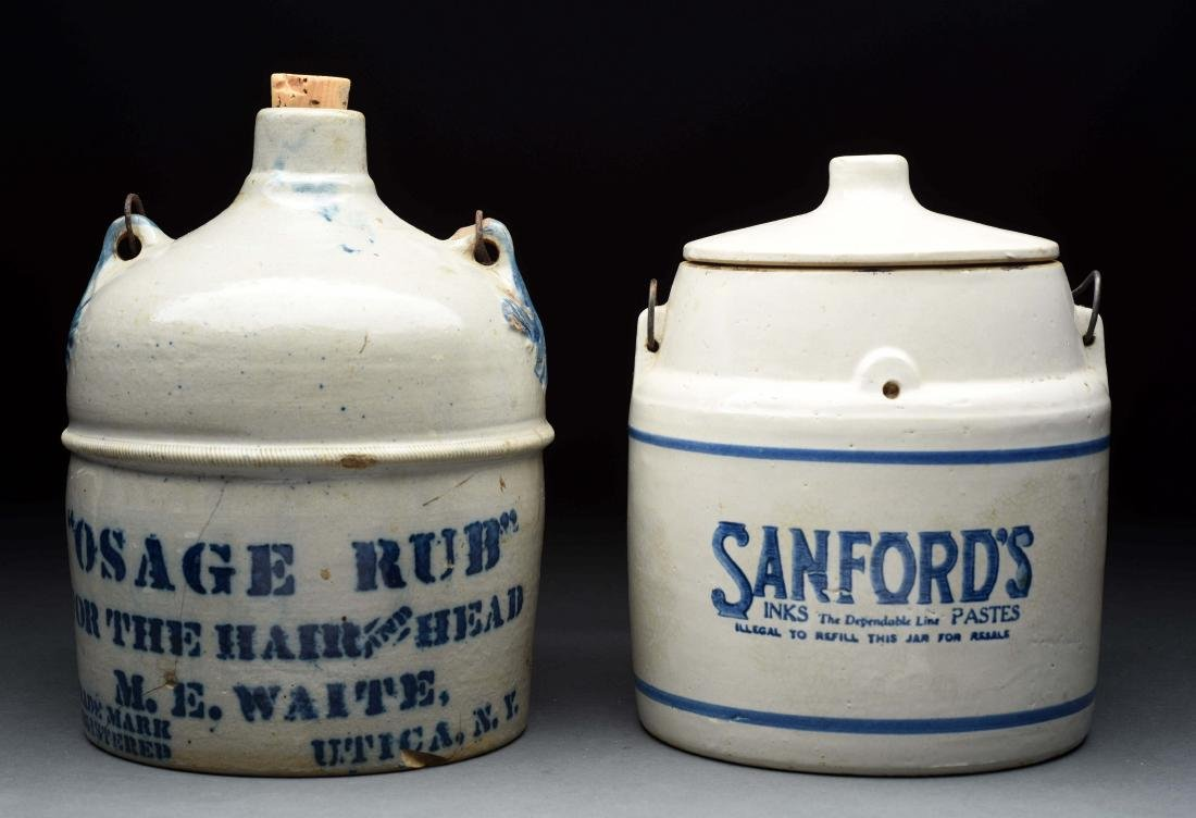 Lot Of 2: Sanford's Crock & Stonewear Jug.