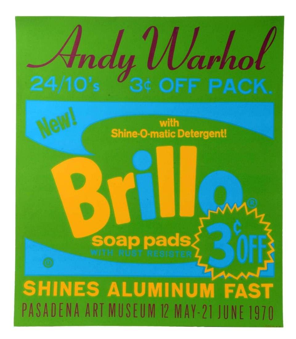 Lot Of 3: Andy Warhol Brillo Poster, Stamps Prints And
