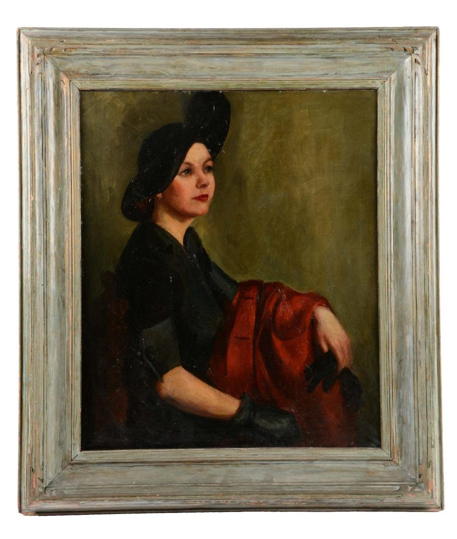 Oil on Canvas of Lady Dressed in 1920's Fashion.
