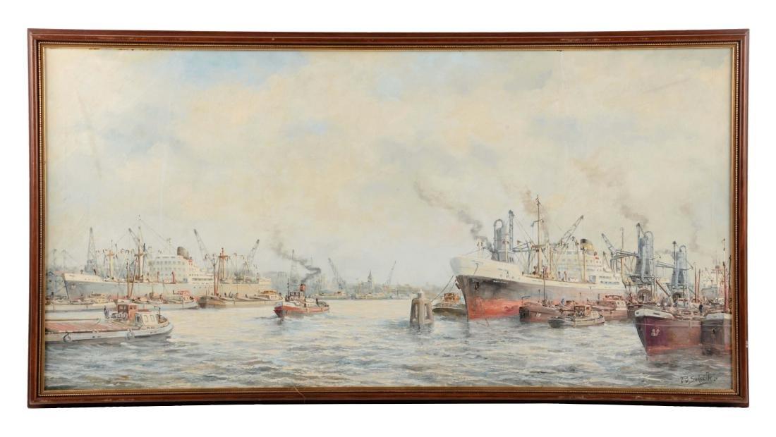 Framed Rotter Dam Harbor Painting.