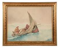 Framed G Haquette Painting Two Sea Men On A Boat