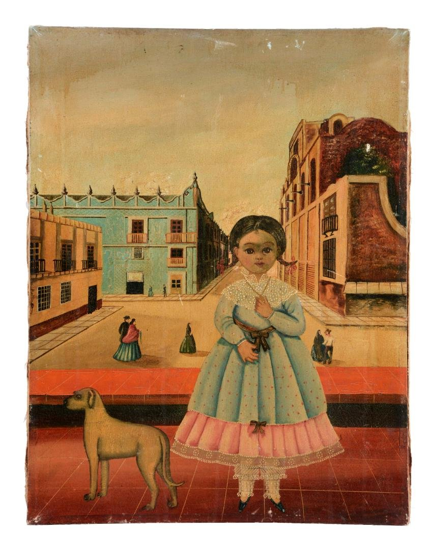 Oil On Canvas Little Girl with Dog.