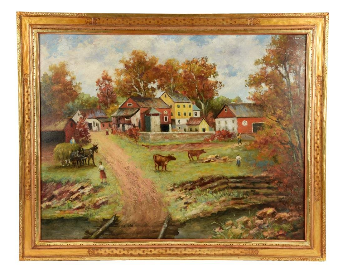 A.N. Lindenmuth Oil on Board of Pennsylvania Farm.