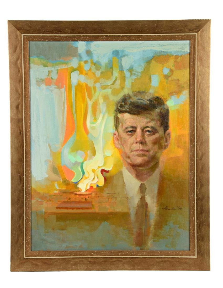 Oil Portrait of Kennedy with Eternal Flame.
