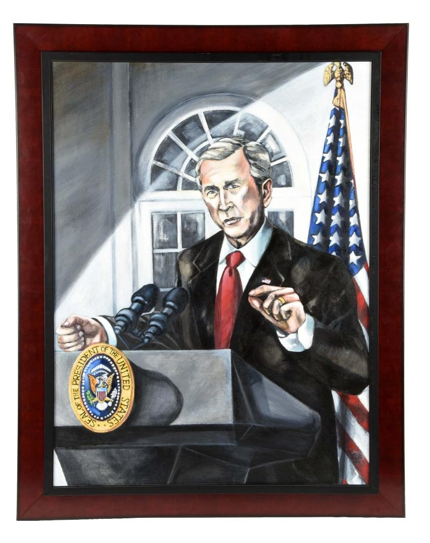 Oil on Canvas President George W. Bush Portrait.