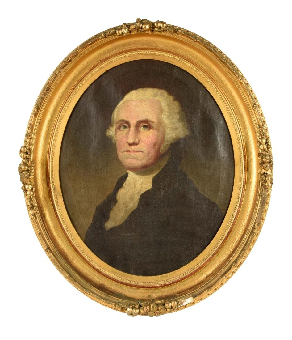 Oil on Canvas George Washington Portrait.