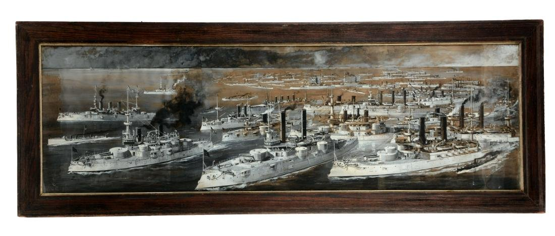 Large Painting Of Battle Ships At Sea.