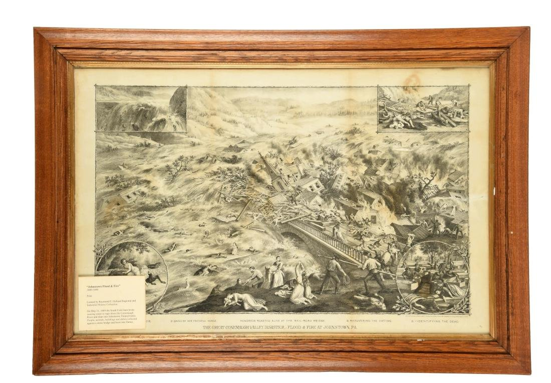 Framed Johnstown Flood & Fire Print.