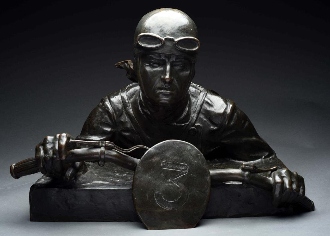 Large Bronze Bust of Motorcycle Racer.