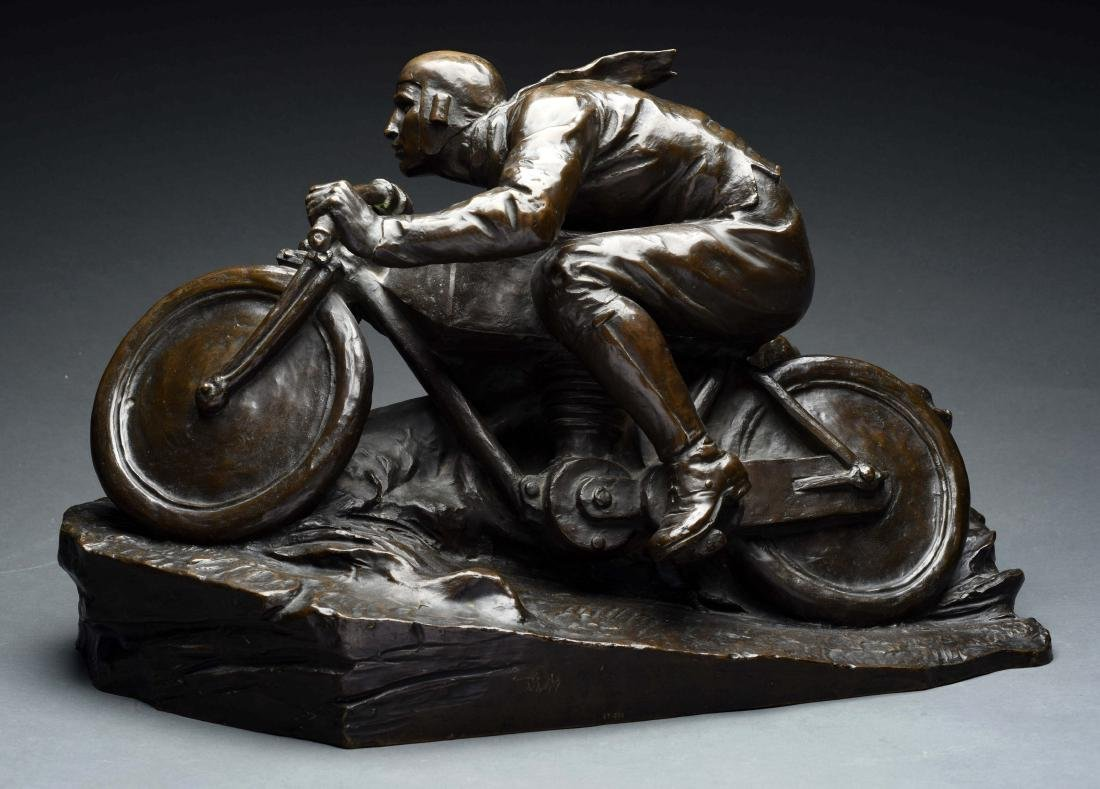 Full Figure Bronze Motorcycle Statue.