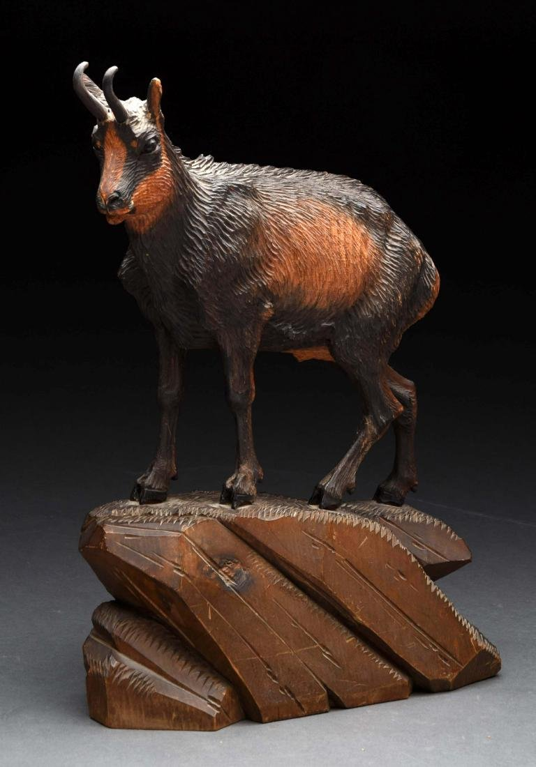 Hand Carved Wooden Mountain Goat Statue.