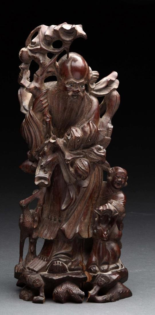 Mahogany Carved Asian Man with Child.