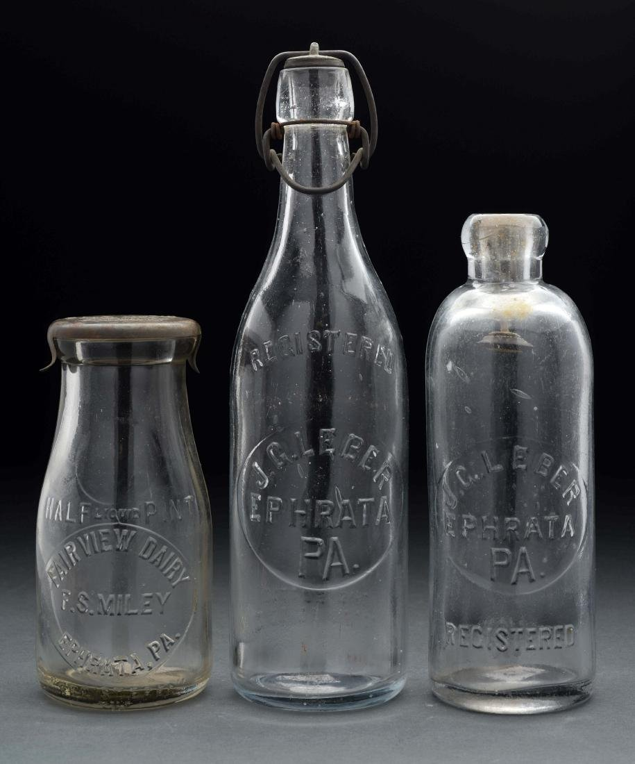 Lot of 3: Early Milk Bottles.