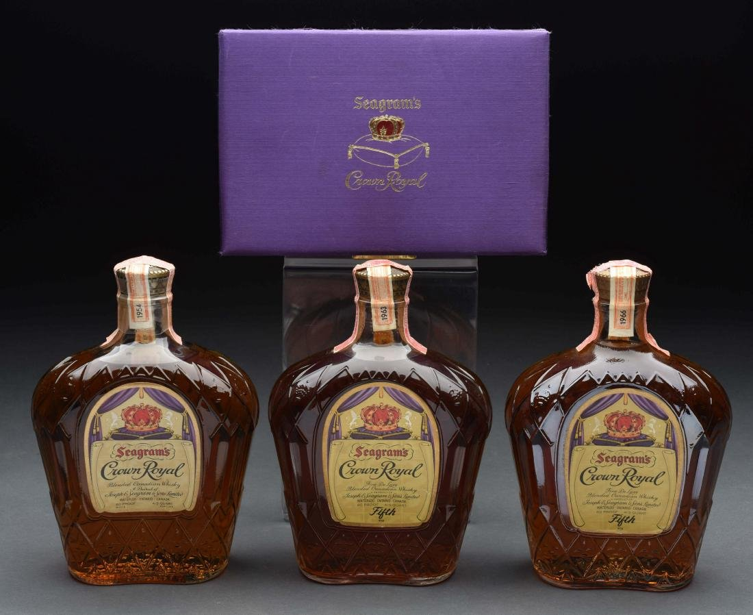 Lot of 3: Bottles of Seagram's Crown Royal.