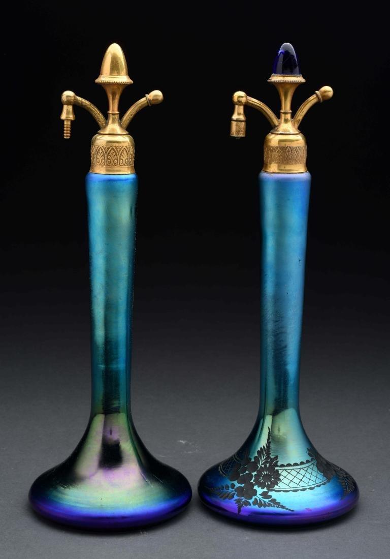 Lot of 2: Art Glass Atomizer Perfume Bottles.