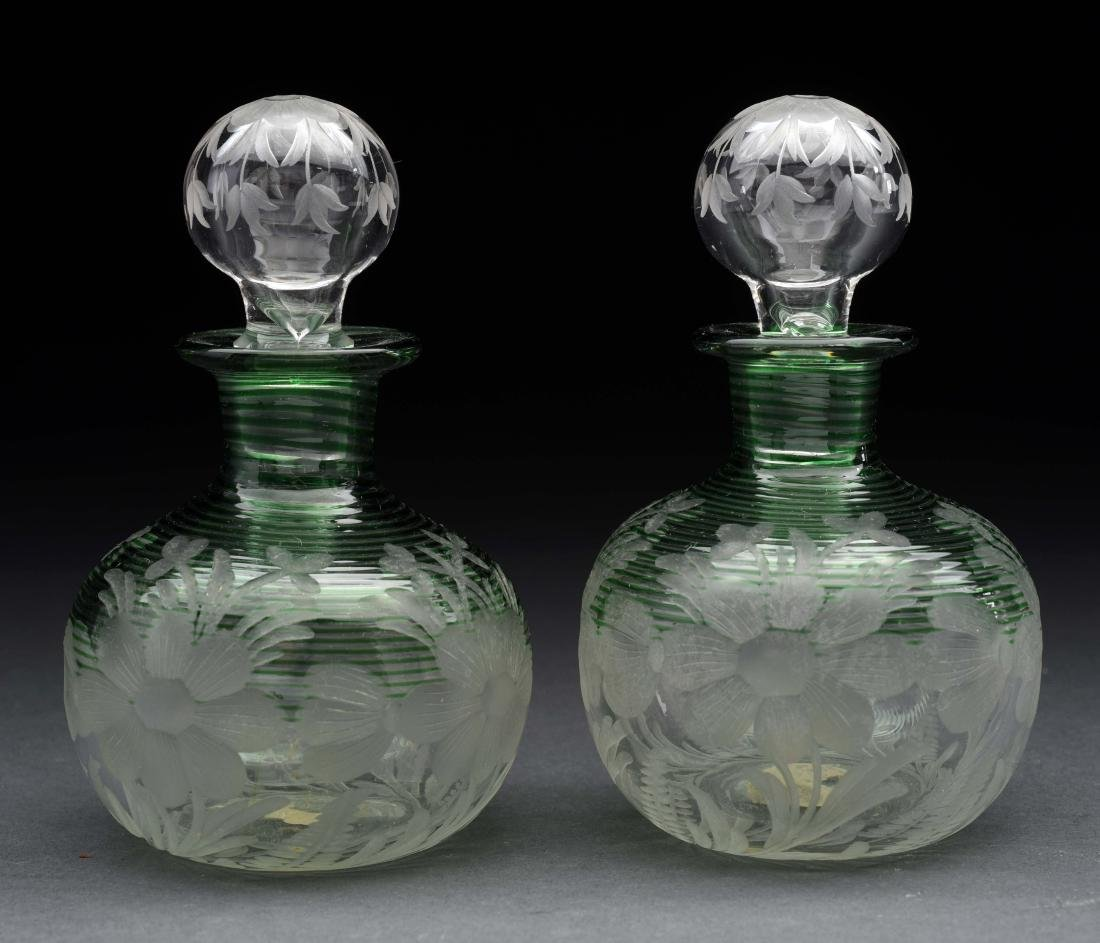 Lot of 2: Unmarked Steuben Etched Perfume Bottles.