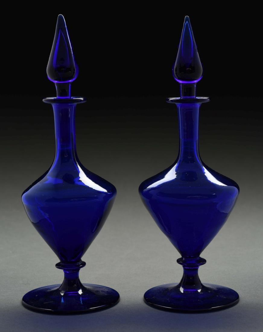 Pair Of Steuben Art Glass Cobalt Perfume Bottles.
