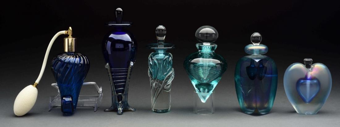 Lot Of 6: Art Glass Perfume Bottles.
