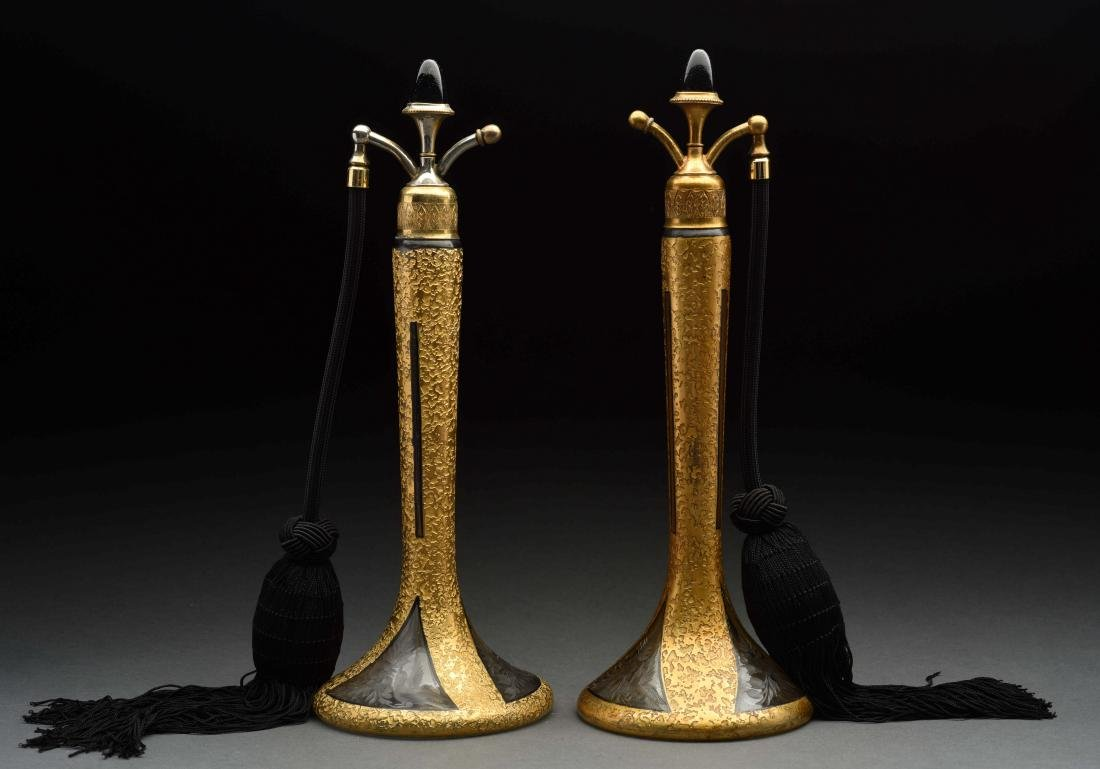 Pair Of Steuben for DeVilbiss Perfume Bottles.