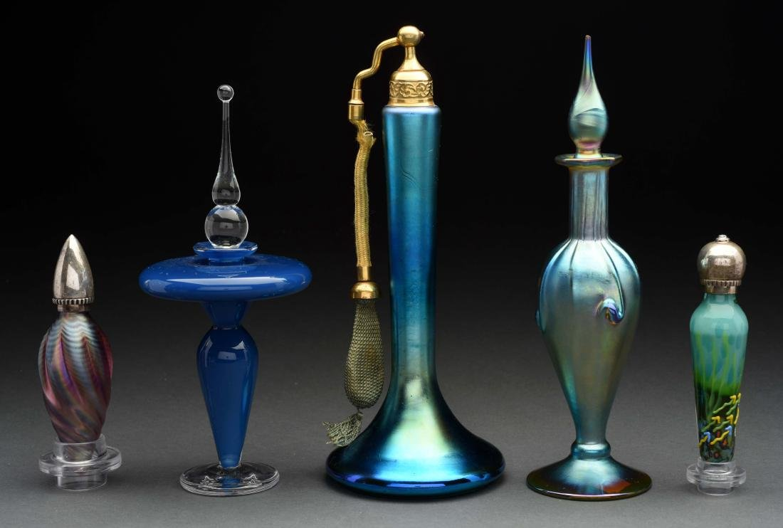 Lot Of 5: Art Glass Perfume Bottles.