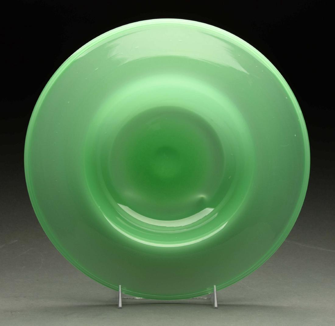 Jade Green Art Glass Centerpiece Bowl.