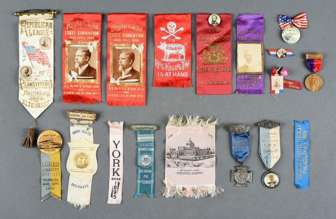 Lot of Historical Political Buttons And Ribbons.