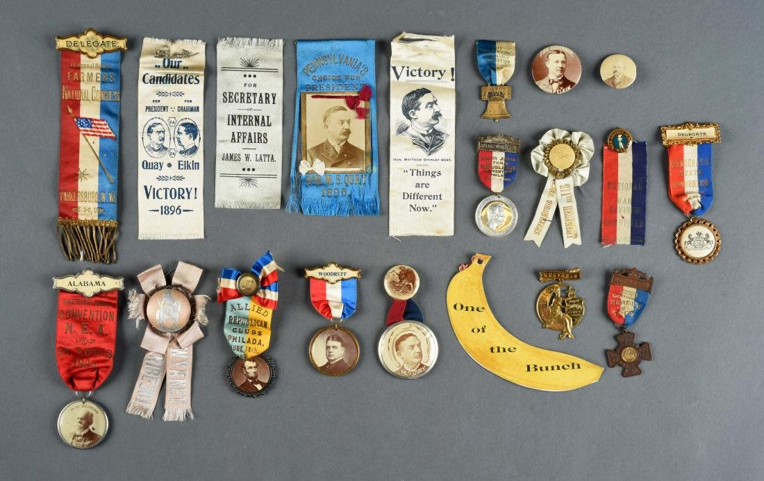 Lot of Historical Political Buttons & Ribbons.