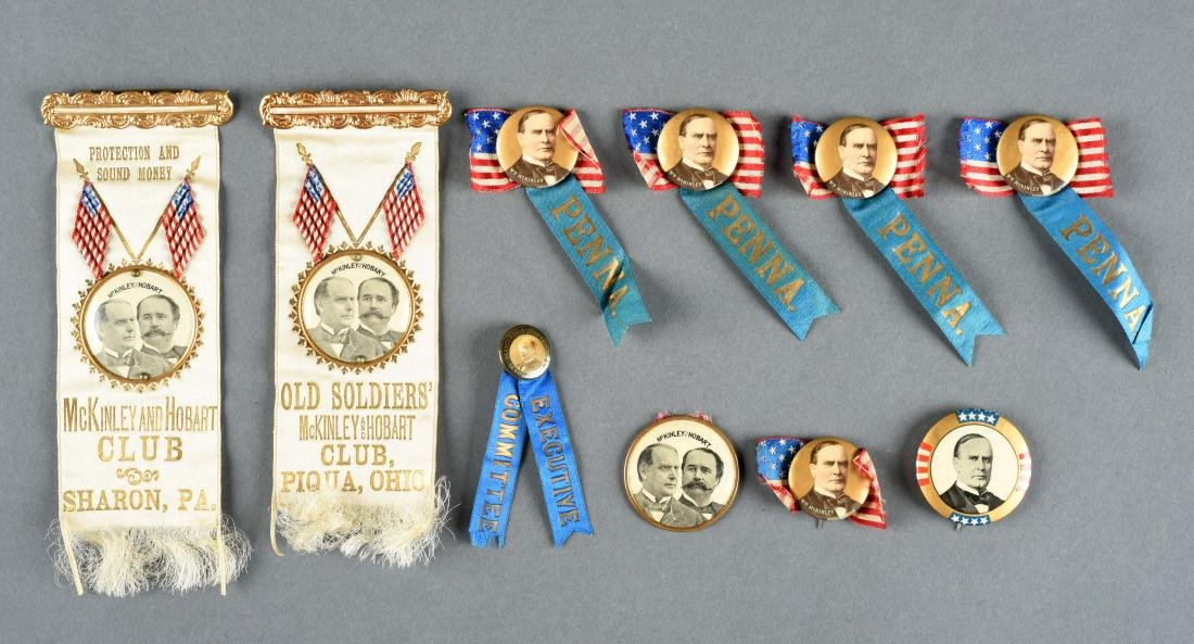 Lot Of McKinley & Hobart Political Buttons & Ribbons.