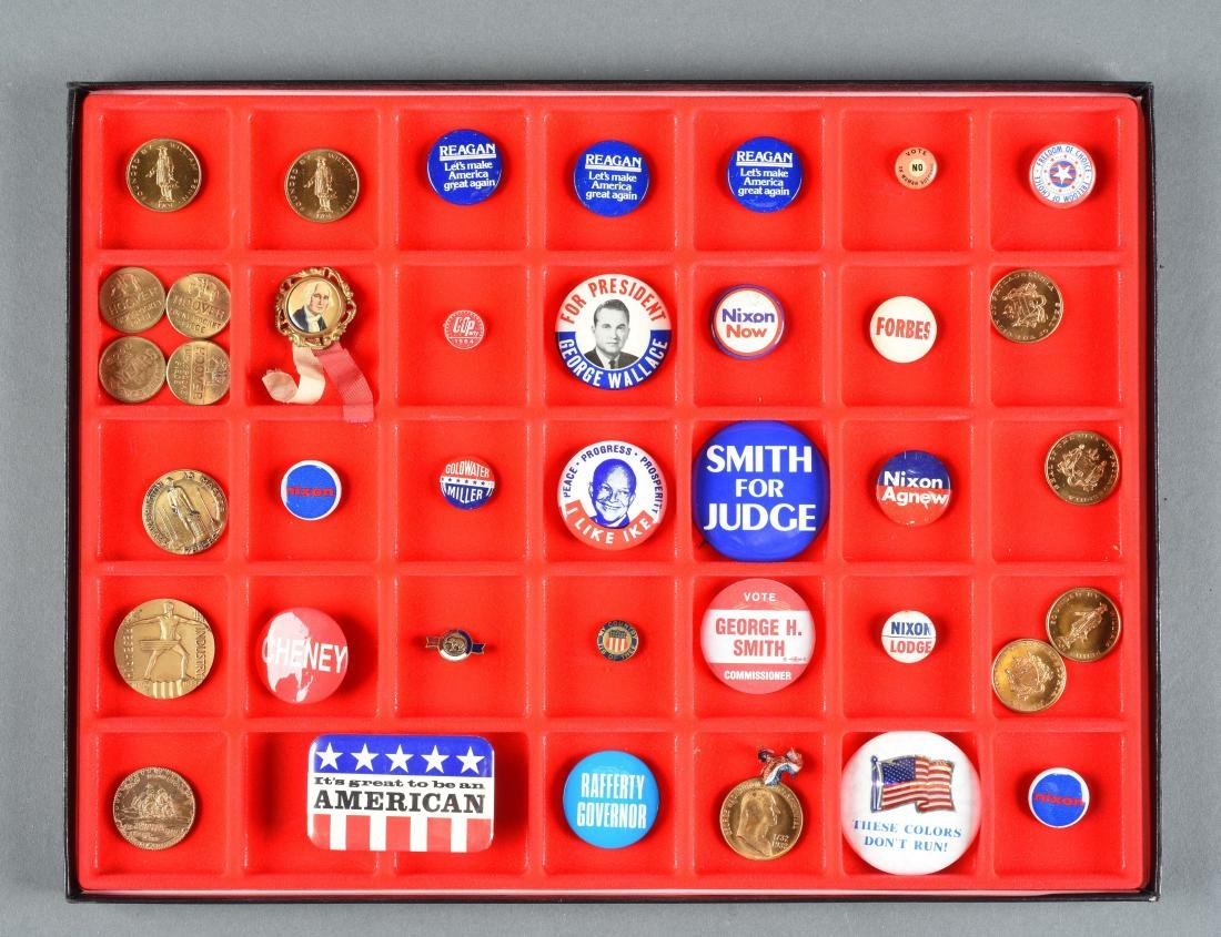 Lot Of Historical Political Buttons, Medals & Tokens.