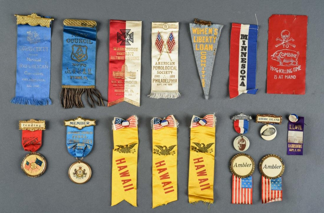 Lot Of Historical, Political & Other Ribbons.