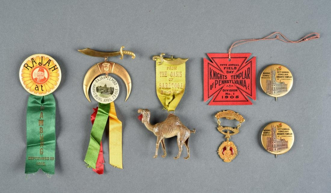 Lot Of 7: Masonic Pins & Ribbons.