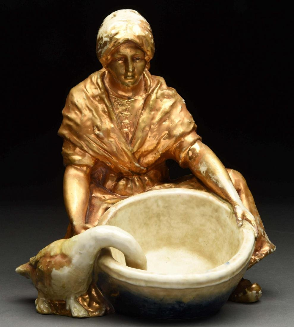 Imperial Amphora Turn Austria Girl with Bowl & Goose.
