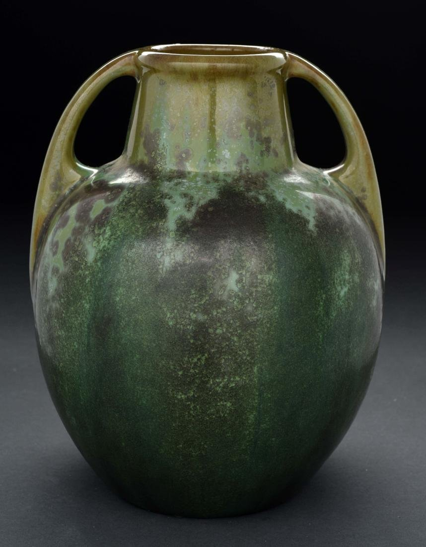 Green Fulper Pottery Vase with Handles.