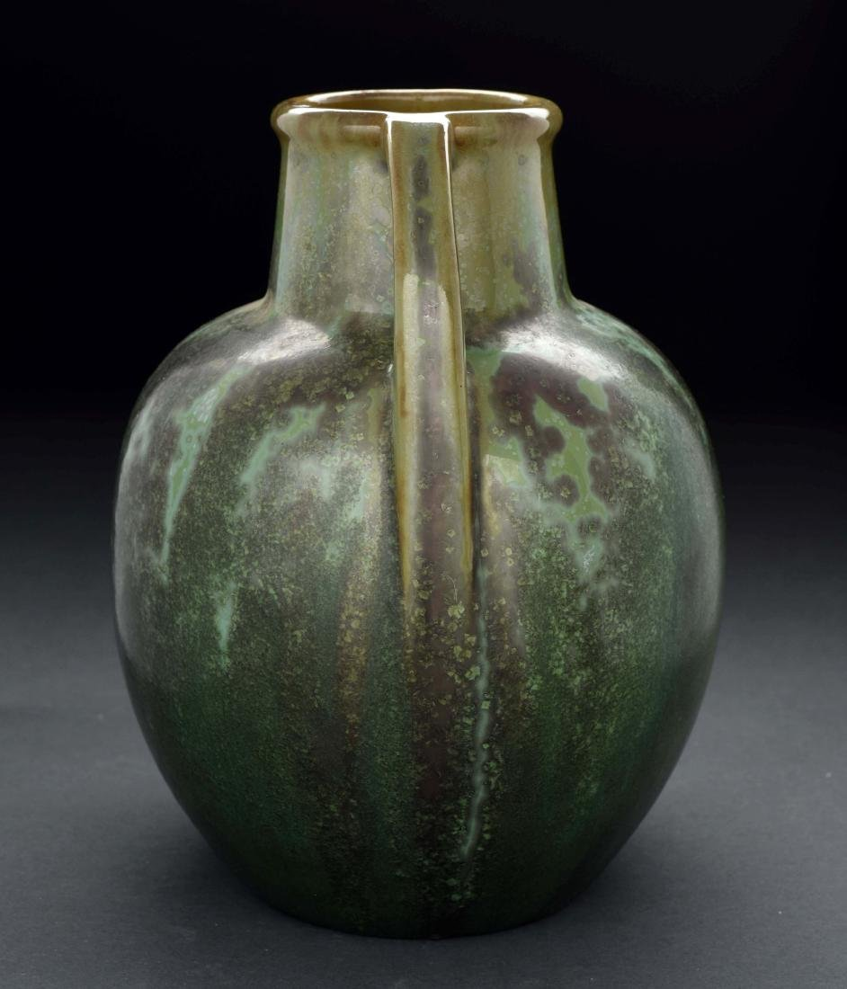Green Fulper Pottery Vase with Handles. - 2