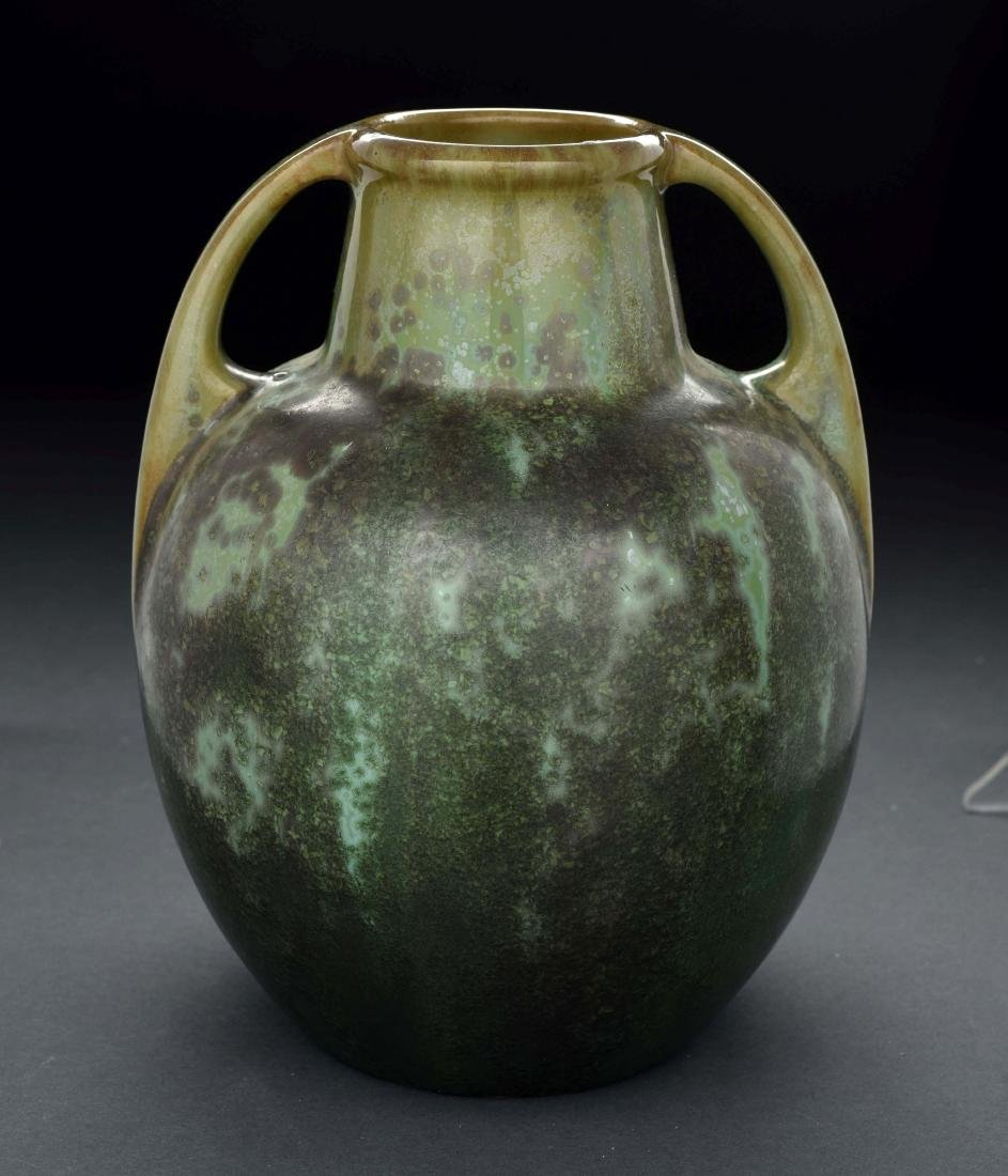 Green Fulper Pottery Vase with Handles. - 3