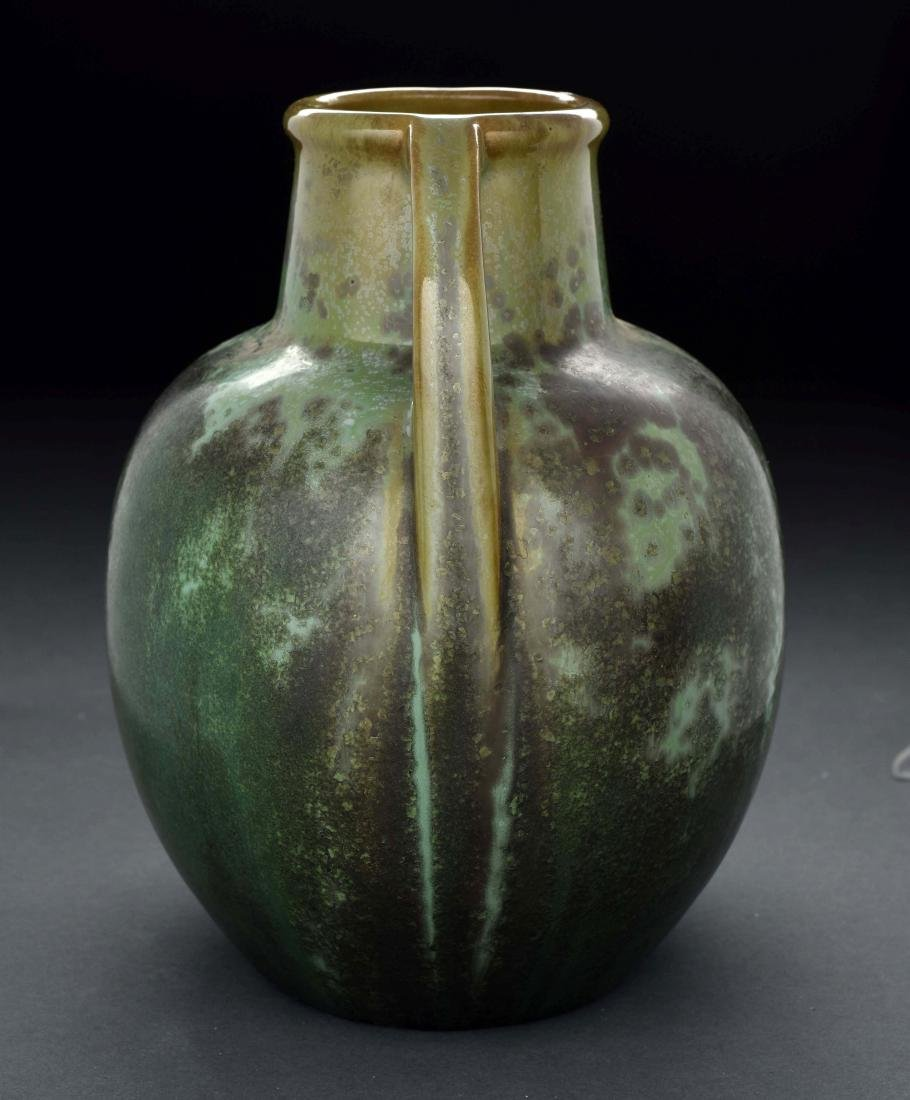 Green Fulper Pottery Vase with Handles. - 4
