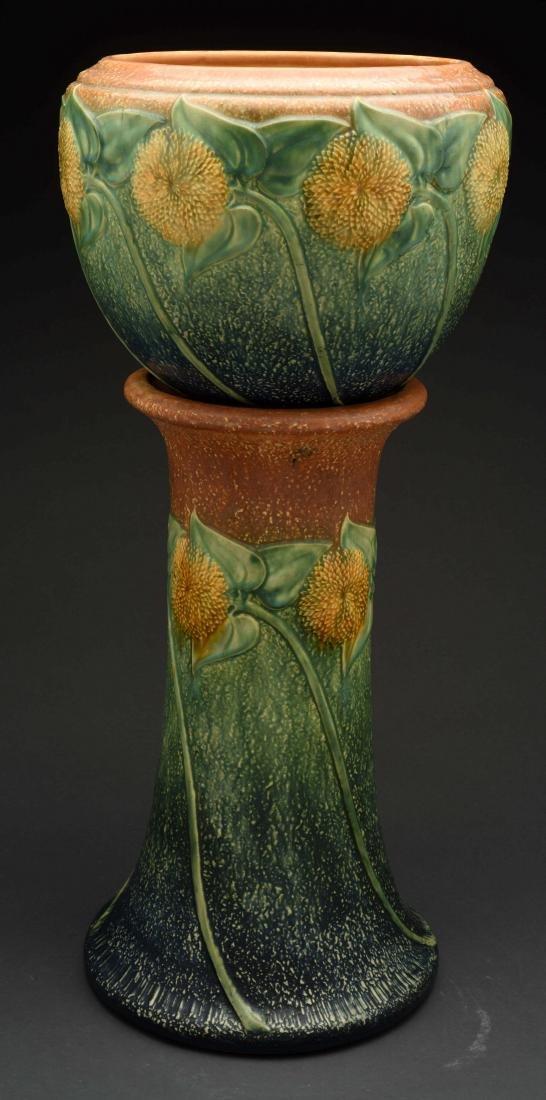 Roseville Sunflower Jardiniere & Pedestal.