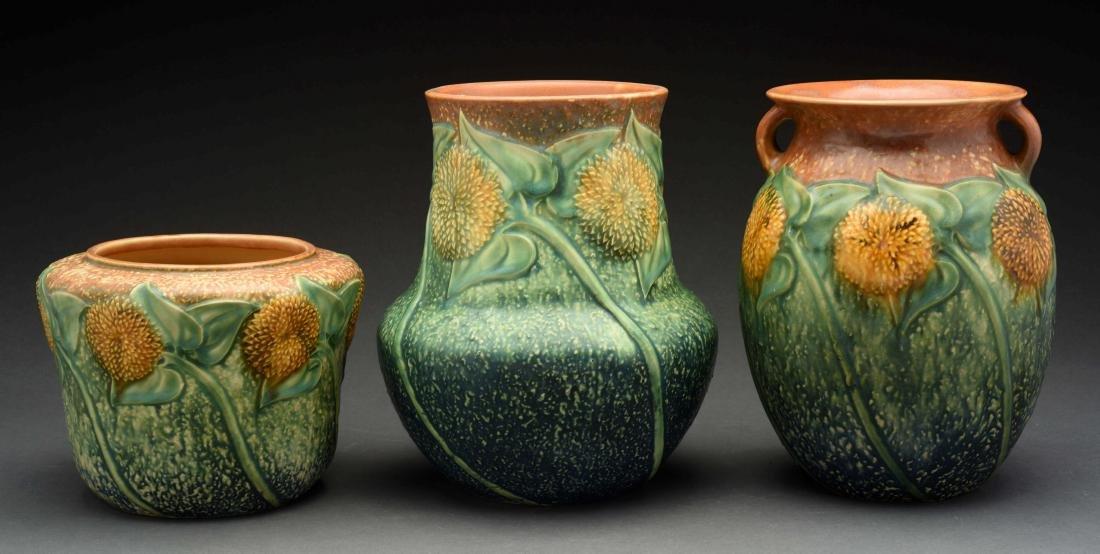 Lot Of 3: Roseville Sunflower Vases.