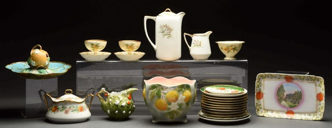 Lot of China Pieces Decorated with Oranges.