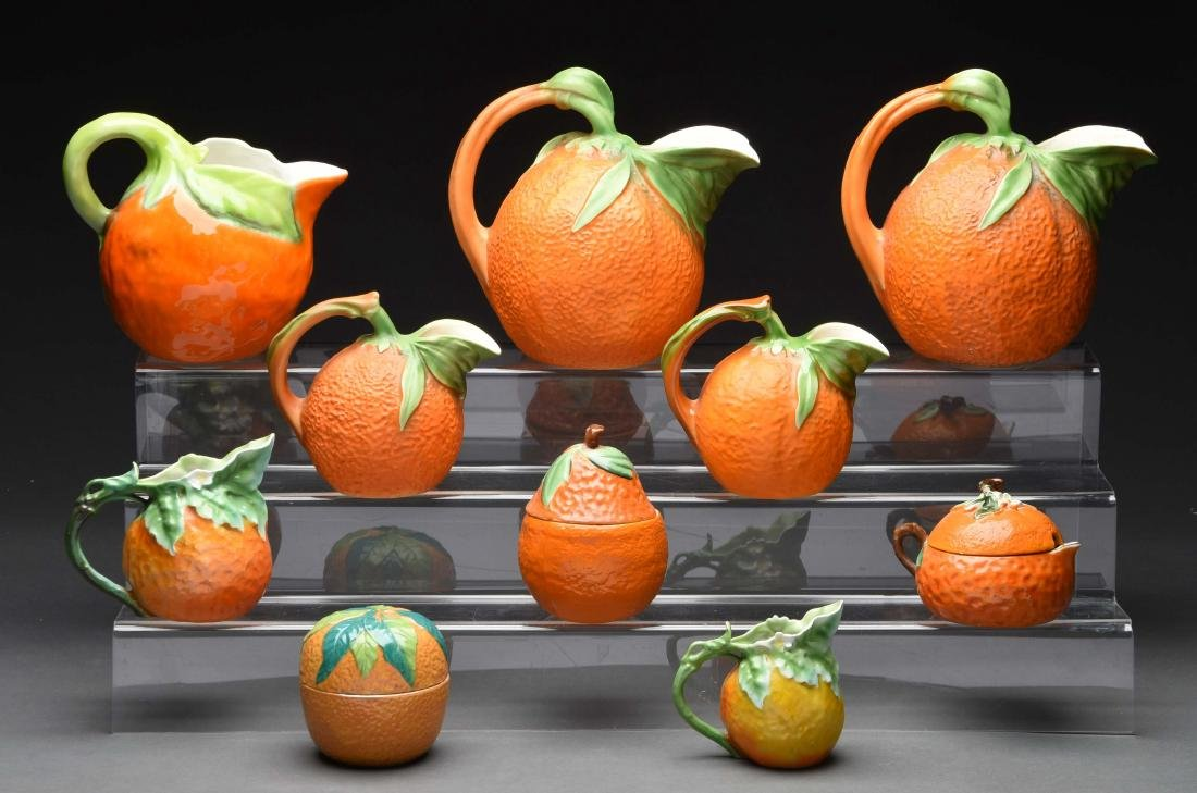 Lot of 10: Figural Orange Pitchers and Bowls.