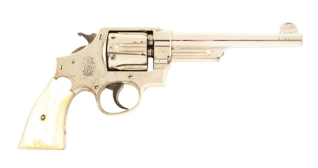 (C) Fine Factory Nickle S&W Triple-Lock Hand Ejector