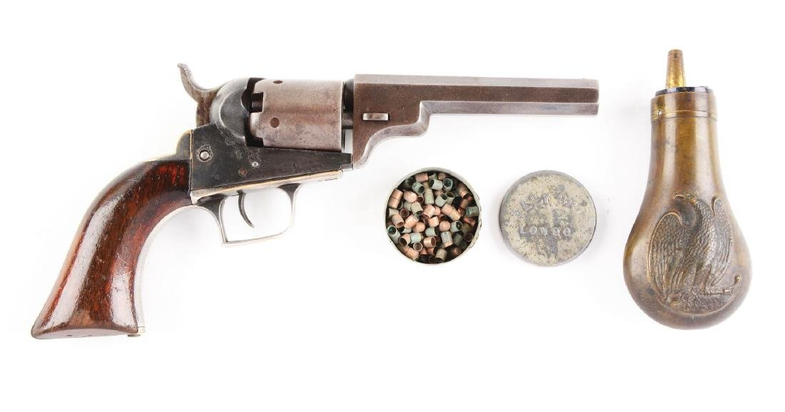 (A) Colt Model1848 Baby Dragoon Revolver with Flask.