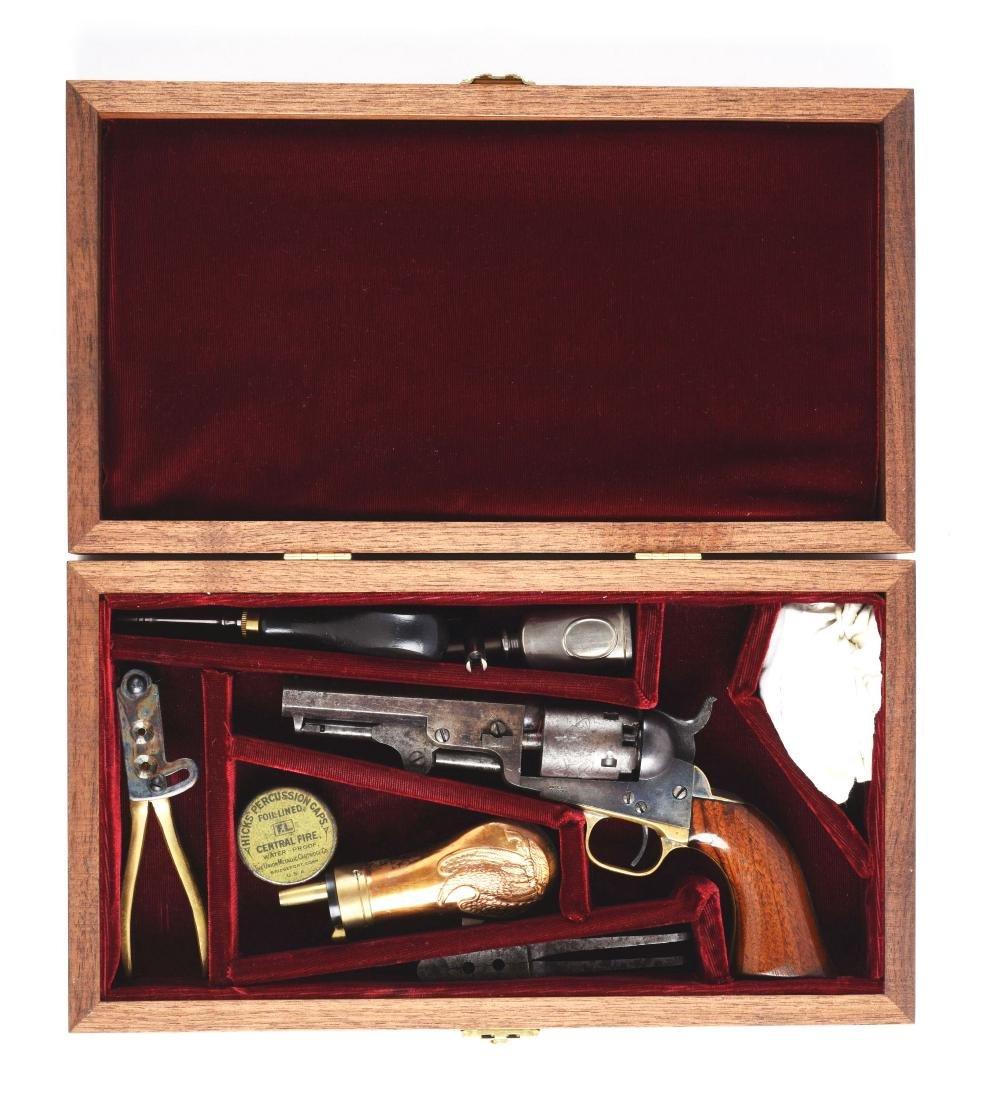 (A) Cased Colt Model 1849 Percussion Pocket Revolver.