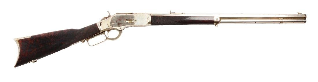 (A) Winchester 2nd Model Deluxe Full Nickel 1873 lever