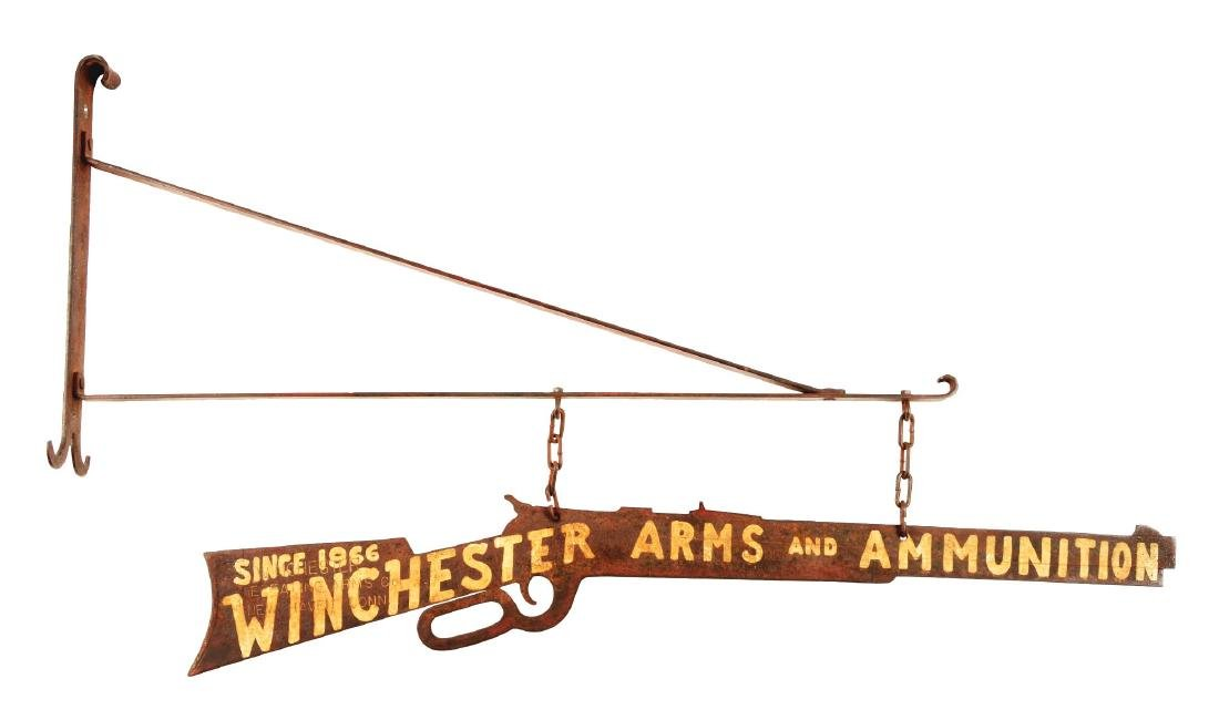 Winchester Arms & Ammunition Hanging Metal Store Sign.