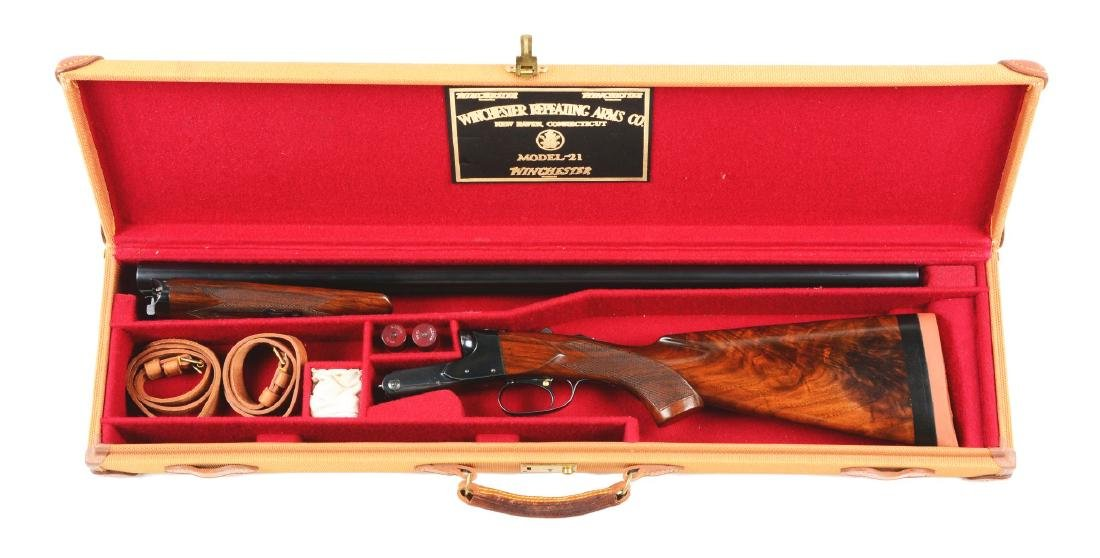 (C) Cased Winchester Model 21 Double Barrel 12 Bore